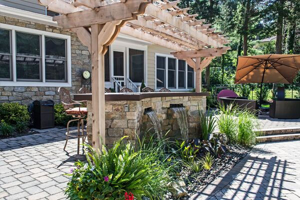 Stone Bar and Trellis: