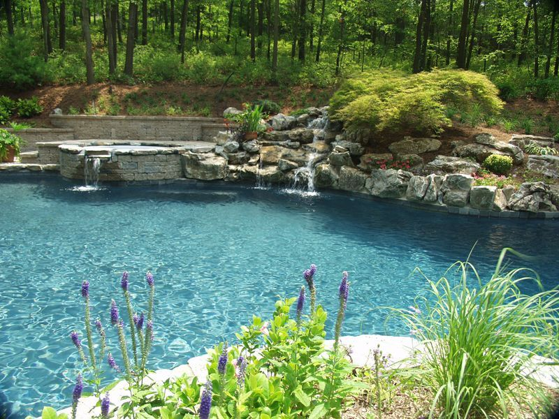 New Retaining Wall, Spa, Moss Rock Waterfall: