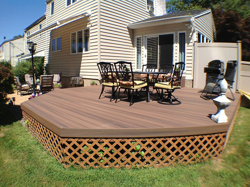 Fiberon Protect Advantage Cedar Capped Composite Decking: Lattice not only makes an attractive base, its gaps provide ventilation, thereby inhibiting mold growth underneath the deck.