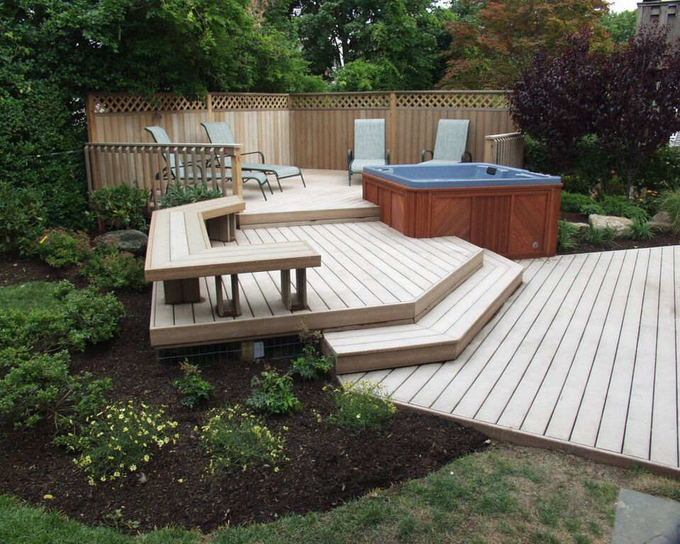 Backyard upgrades for Hot tub deck plans