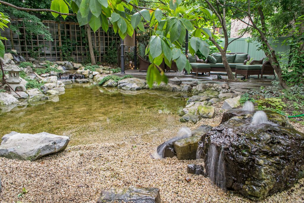 Natural playscapes pond and playground oasis in city backyard - The pond house nature above all ...
