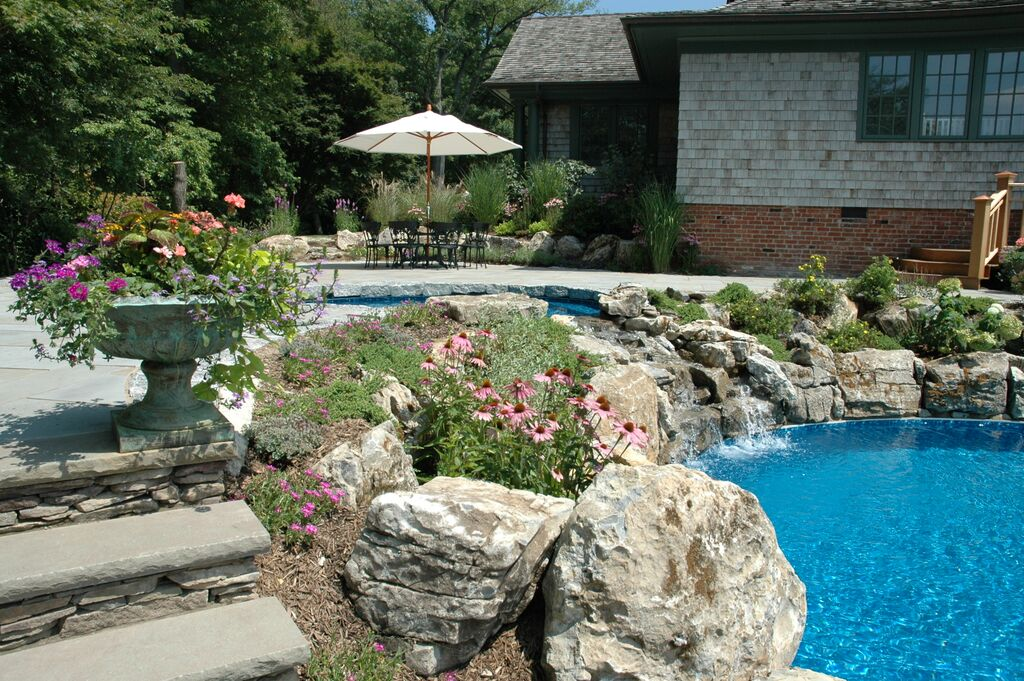"Vanishing Edge Pool (Cove Neck/NY): In addition to the recycled pool water, for this project, a custom ""spillover"" spa offers healthy aeration to the pool water."