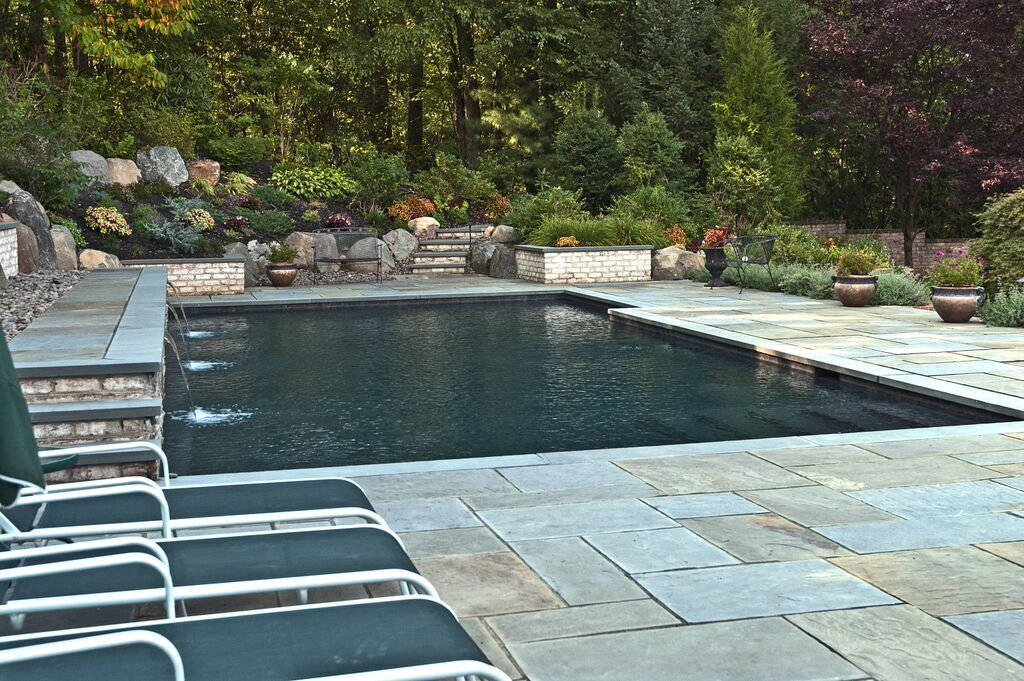 Geometric Pool with Landscaping: