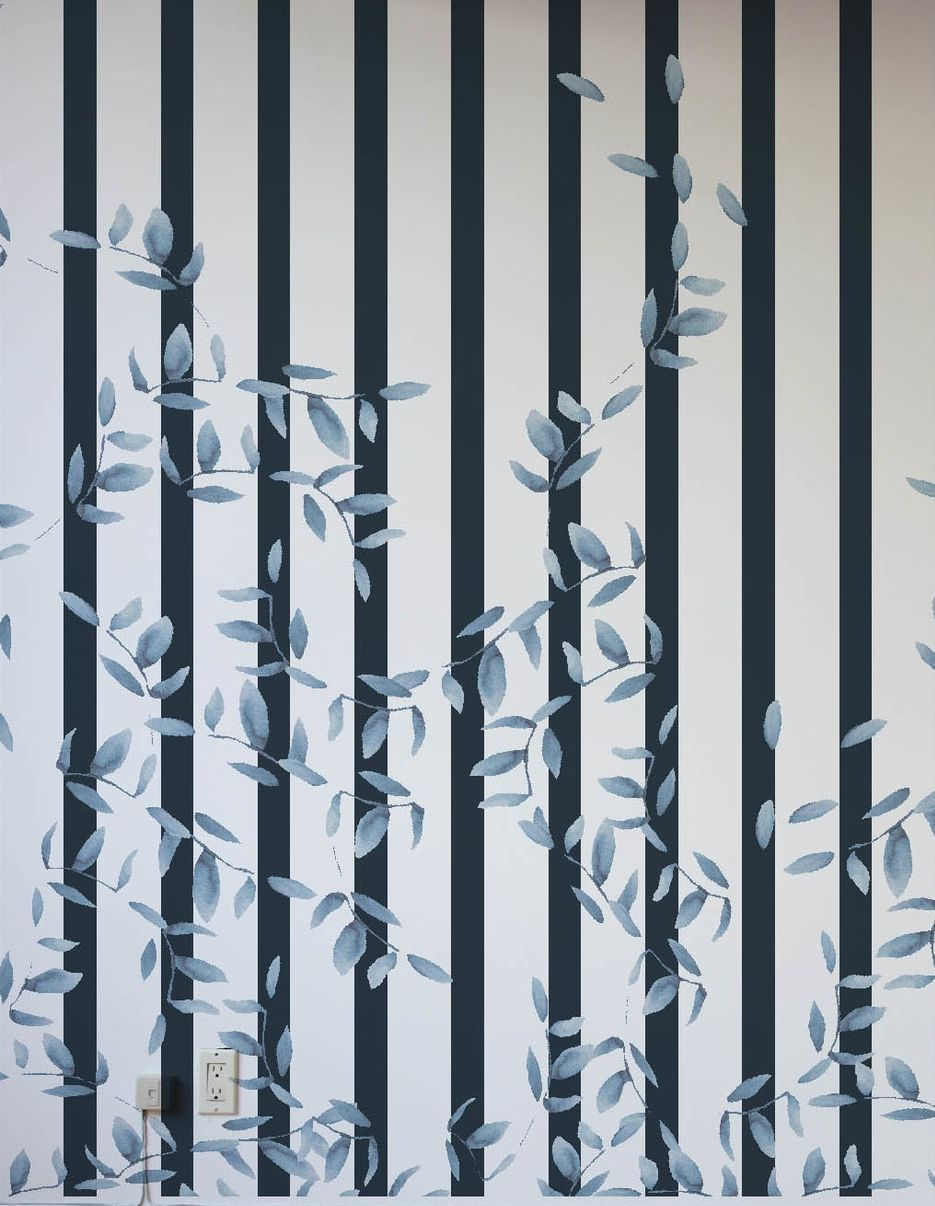 "Kaye's ""Collection N Twelve"" boasts a dramatic striped wall covering with a captivating, if subtle, vine design inspired by her outdoor nature walks."