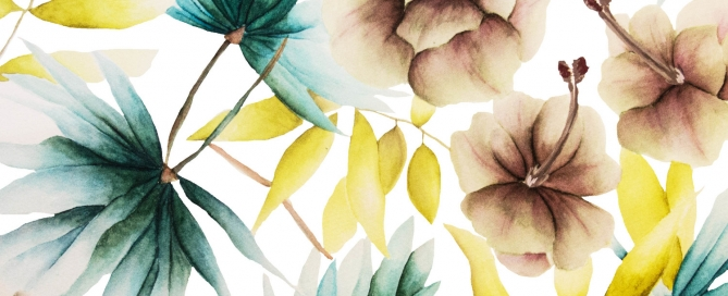 """Kaye's """"Exotic"""" design for her Summer Collection includes a hint of an aquatic plant we particularly love — water lilies. """"I love putting together combination of various flowers I love, in soft, but striking, hues and shapes,"""" says Kaye."""