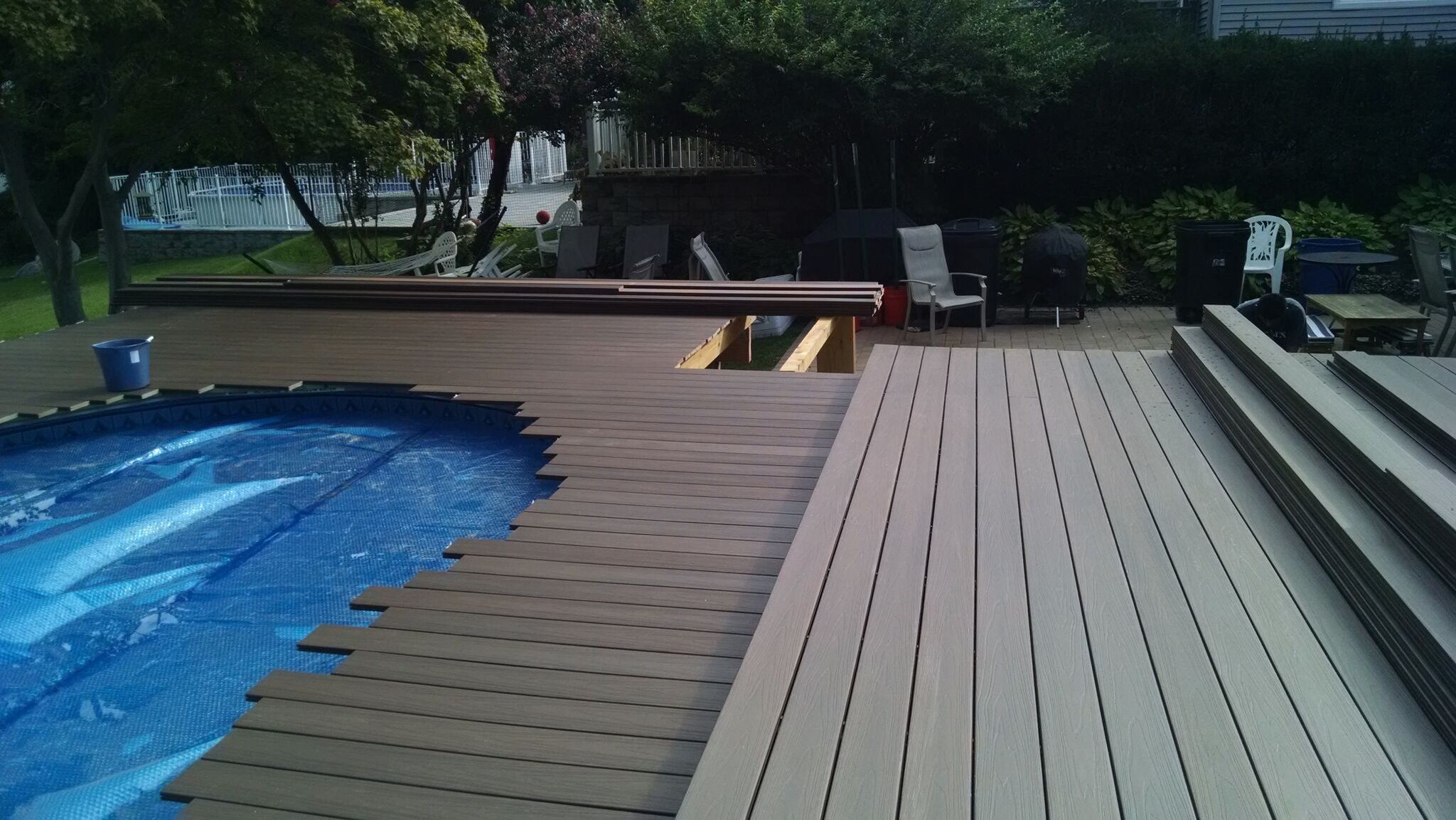 Composite decking - Above ground composite pool deck ...