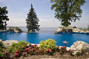 Deck and Patio Infinity Pool Overlooking Long Island Sound