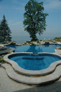 Deck and Patio Infinity Pool Overlooking Long Island Sound: