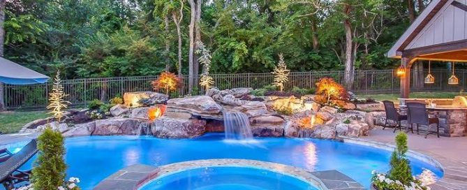 Completed Pool, Spa, and Water Feature for Pool Kings on DIY Network: For those not familiar with construction, it can be hard to imagine during the process what it will look like finished. But that's what Deck and Patio and companies like Peek Pools and Spas are here for. It's pretty spectacular finished, isn't it?