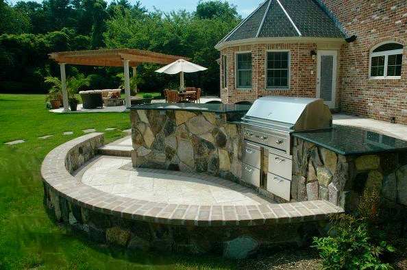 Stone Veneered Custom Bar/Barbecue Center: