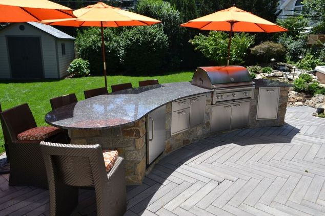 Techo-Bloc Patio with Custom Kitchen/Bar Center