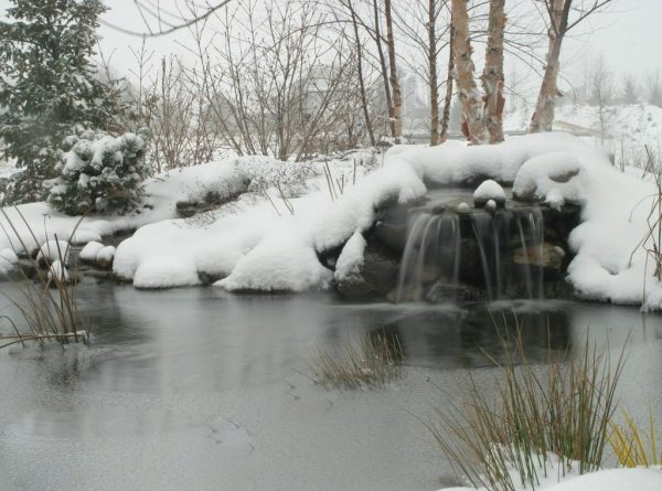 Keep Pond Waterfalls Running in Winter: (Photo/Aquascape Inc.)
