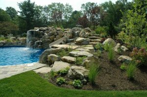 Natural stone path to water slide