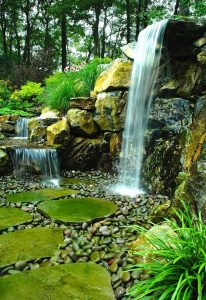 7-ft Waterfall Replaces Old Retaining Wall