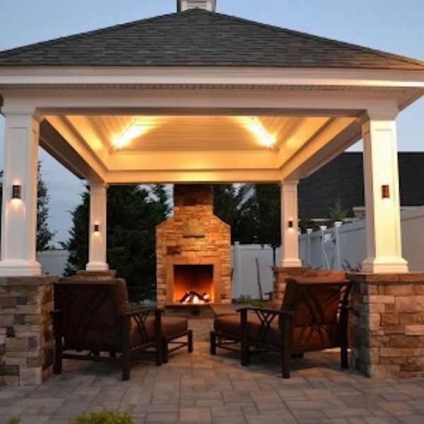 Custom Pavilion with Fireplace