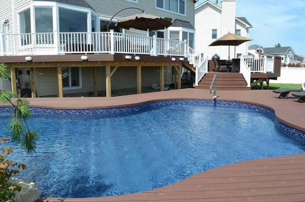 Elegant Multi-Level Trex Deck with Pool Surround: