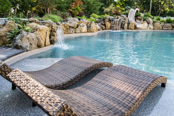 In-Ground Pool with Tanning Shelf: