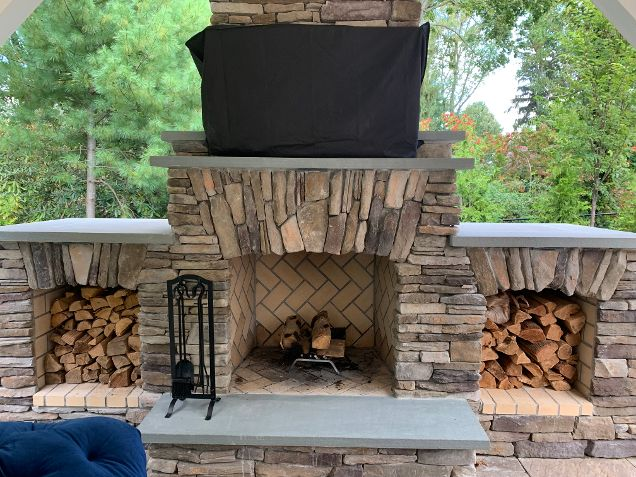 Custom Fireplace Design by Deck and Patio: