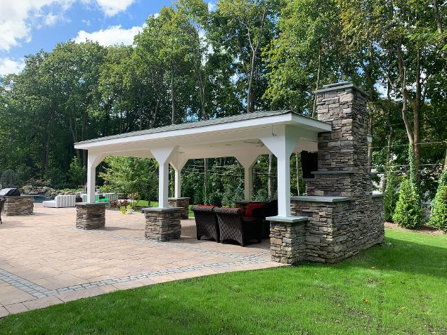 Custom Pavilion with Outdoor Fireplace: