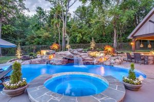Completed Pool, Spa, and Water Feature for Pool Kings on DIY Network