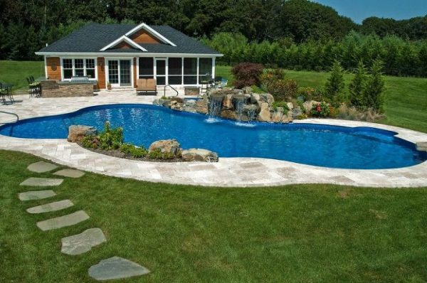 Pool House with Pool and Waterfalls