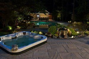 Total Backyard Upgrade Seen at Nighttime