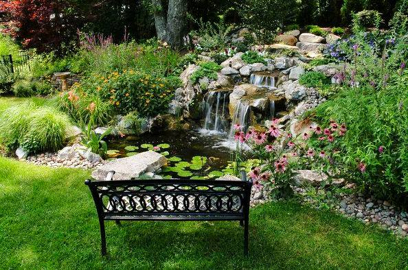 Backyard Pond and Waterfalls with Bench (Long Island/NY)