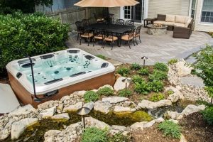 Hot Tub Patio by Deck and Patio