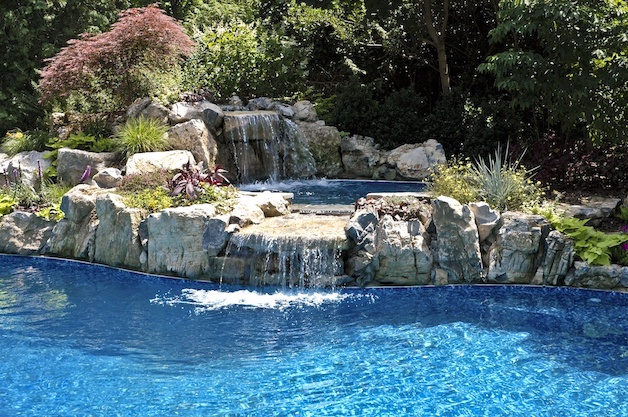 Pool With Raised Spillover Spa: