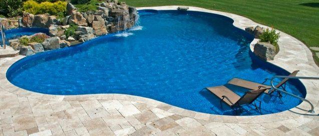 Pool with Travertine Pavers